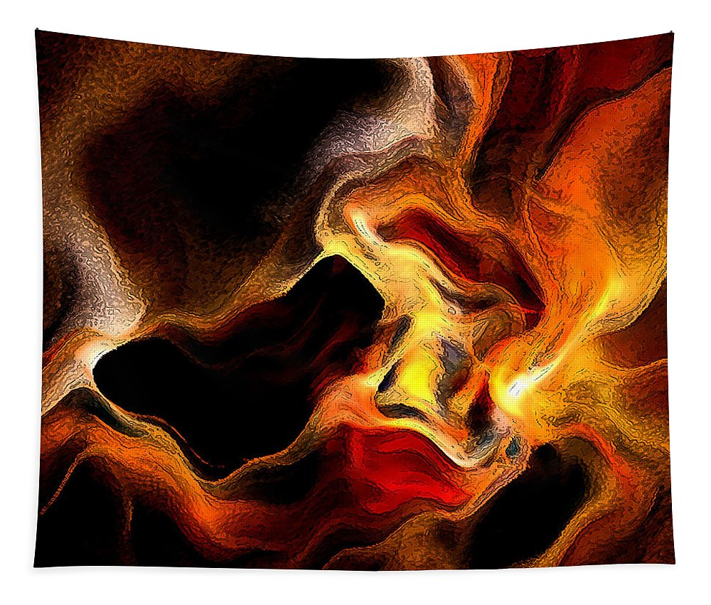 Abstract Tapestry featuring the digital art Firey by Ruth Palmer