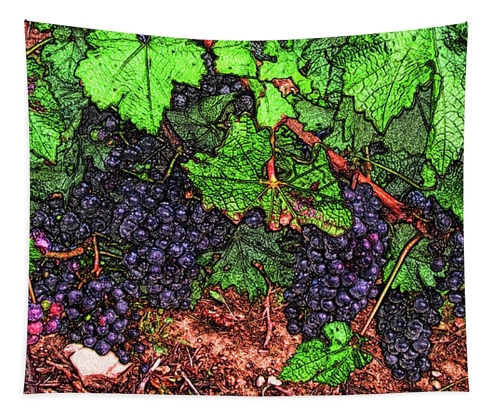 Grape Vines Tapestry featuring the digital art First Came The Grape by Leslie Montgomery