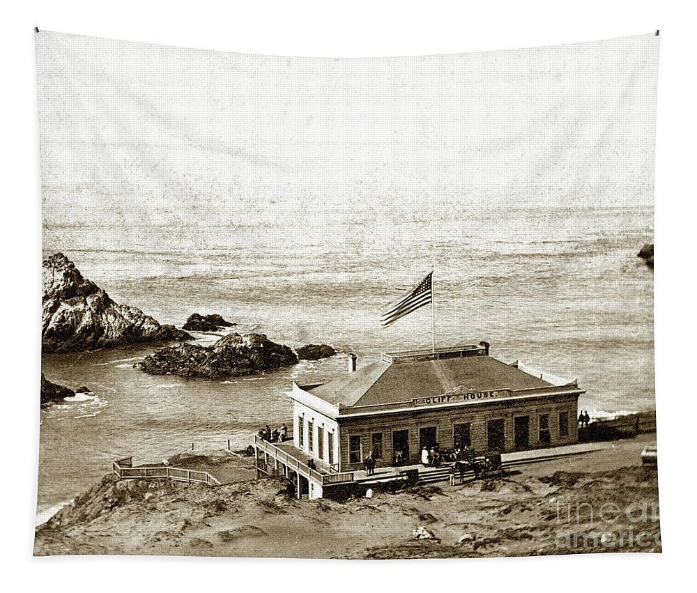 First Cliff House Tapestry featuring the photograph First Cliff House View Of Ropes From The Cliff House To Seal Rock Circa 1865 by California Views Archives Mr Pat Hathaway Archives
