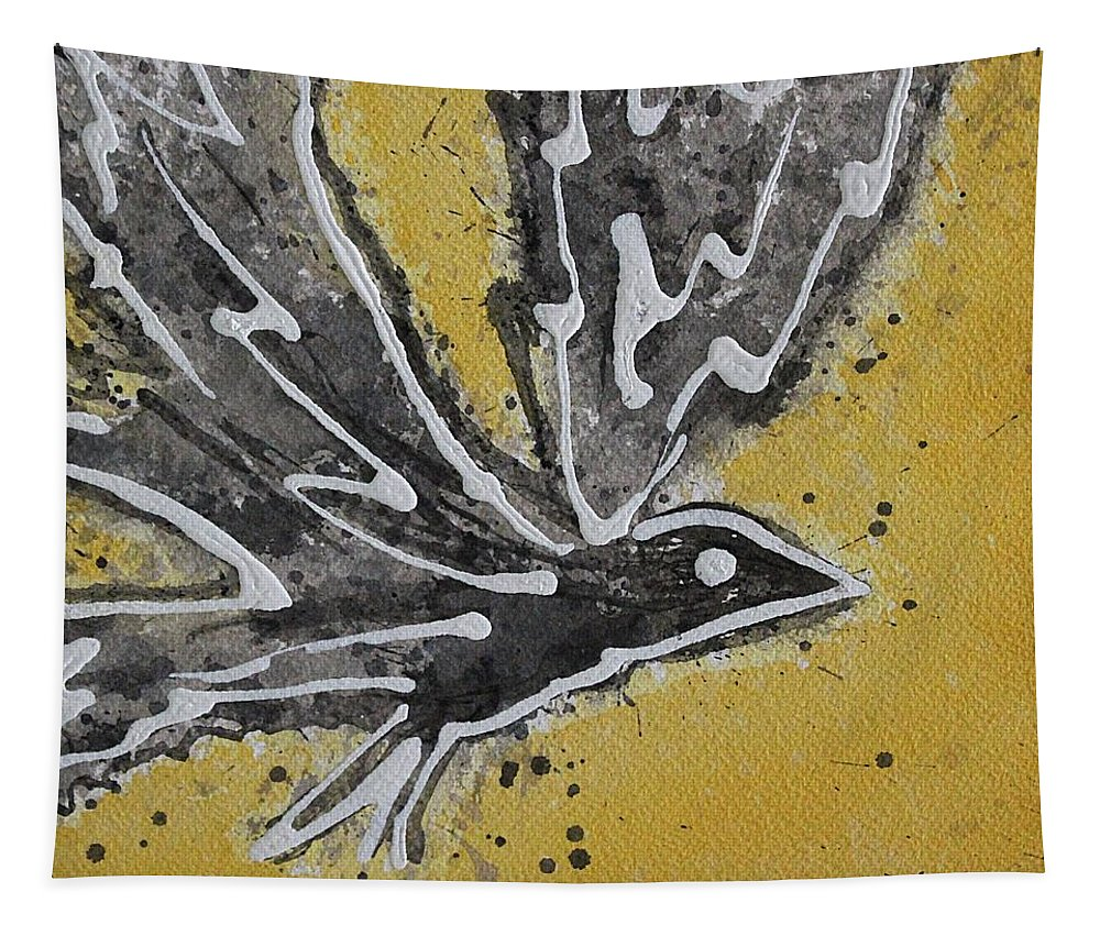 Bird Tapestry featuring the painting First Flight Original Painting by Sol Luckman