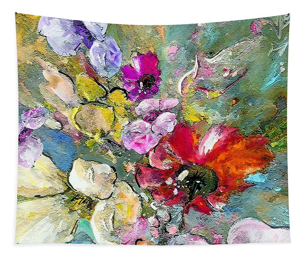 Nature Painting Tapestry featuring the painting First Flowers by Miki De Goodaboom