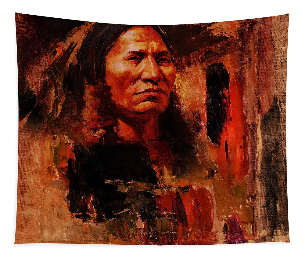 Chief Tapestry featuring the painting First Generation 01 by Gull G