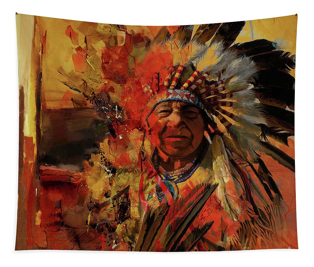 Chief Tapestry featuring the painting First Generation 07b by Gull G
