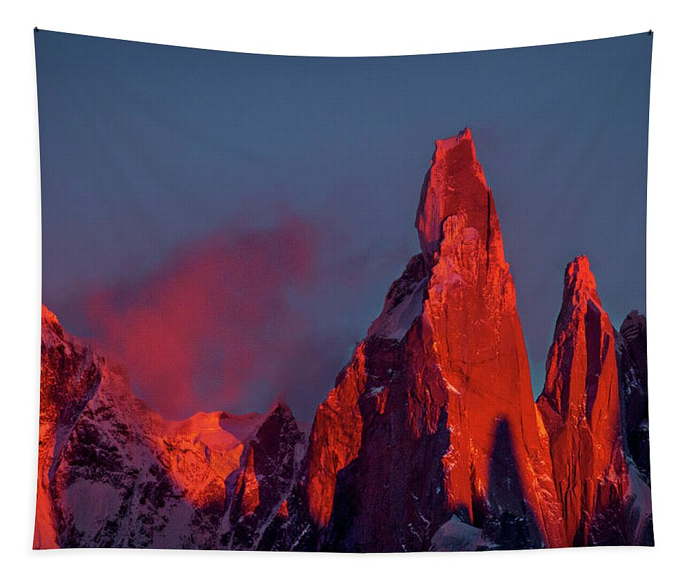 Patagonia Tapestry featuring the photograph First Light On Cerro Torre - Patagonia by Stuart Litoff