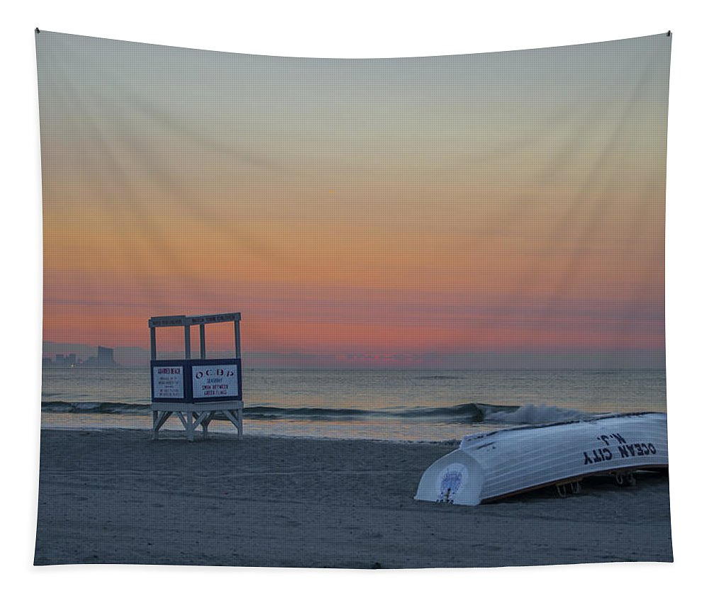 First Tapestry featuring the photograph First Light On Ocean City New Jersey Beach by Bill Cannon