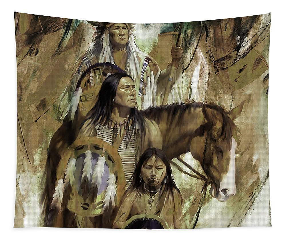 Native American Tapestry featuring the painting First Nation 67r by Gull G
