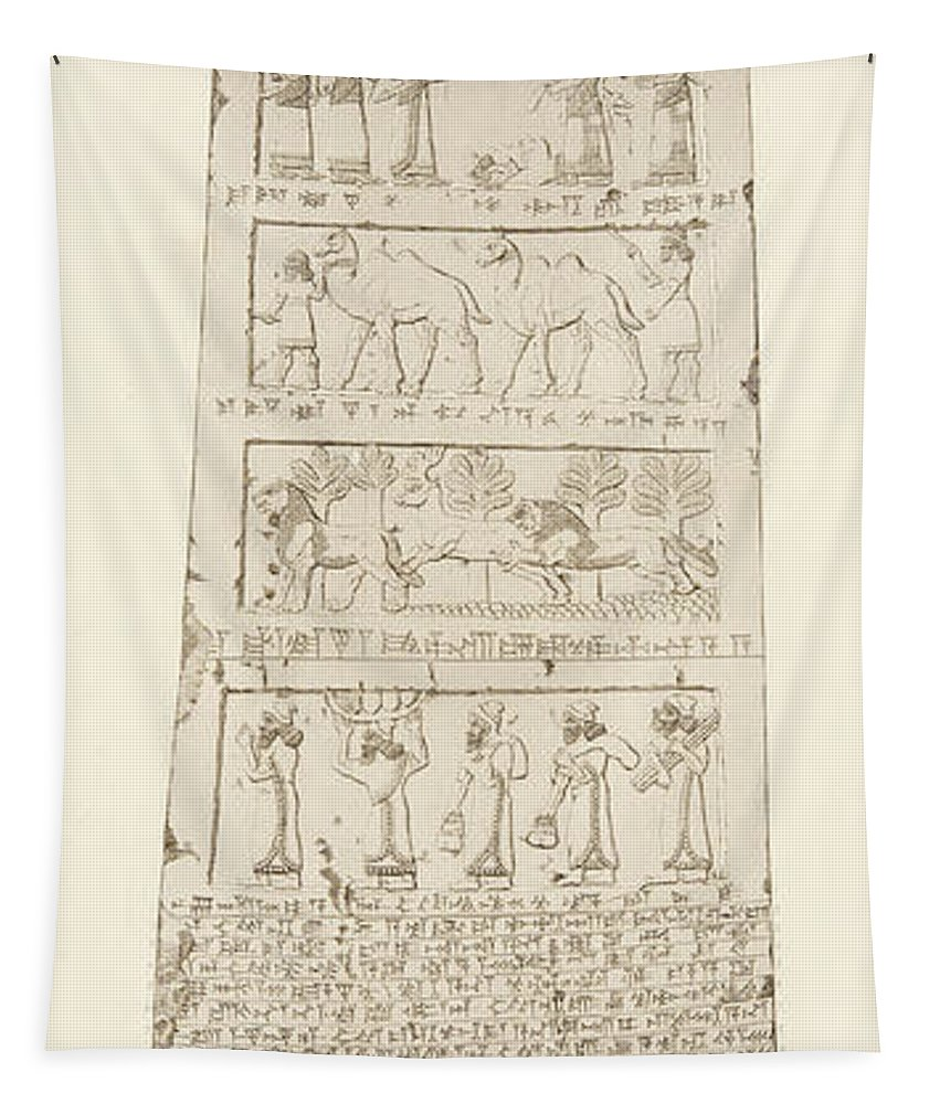 Obelisk Tapestry featuring the drawing First Side Of Obelisk, Illustration From Monuments Of Nineveh by Austen Henry Layard