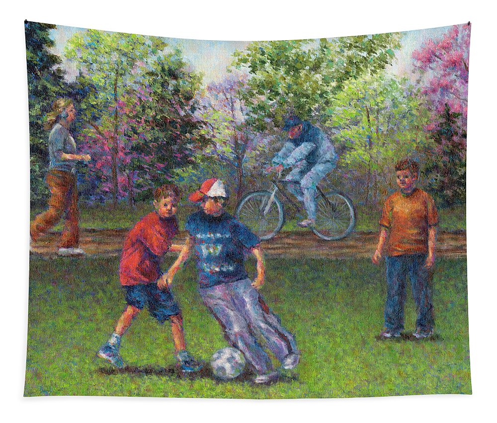 Spring Tapestry featuring the photograph First Warm Day by Susan Savad