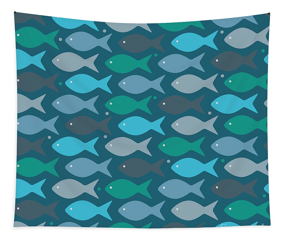 Dolphins Tapestry featuring the digital art Fish Blue by Mark Ashkenazi