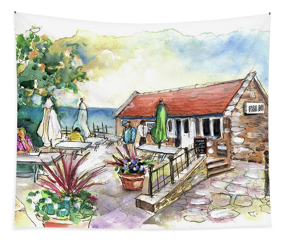 Travel Tapestry featuring the painting Fish Box In Robin Hoods Bay by Miki De Goodaboom
