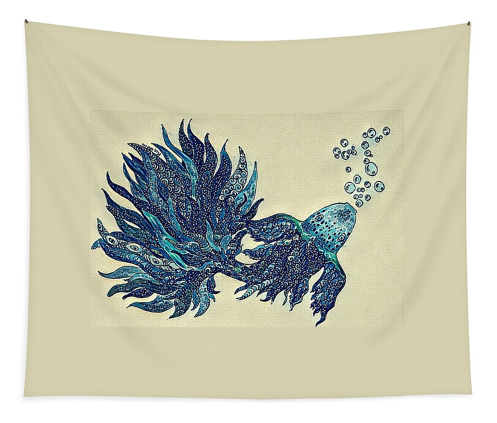 Fish Tapestry featuring the digital art Fish Tangled 4 by Megan Walsh