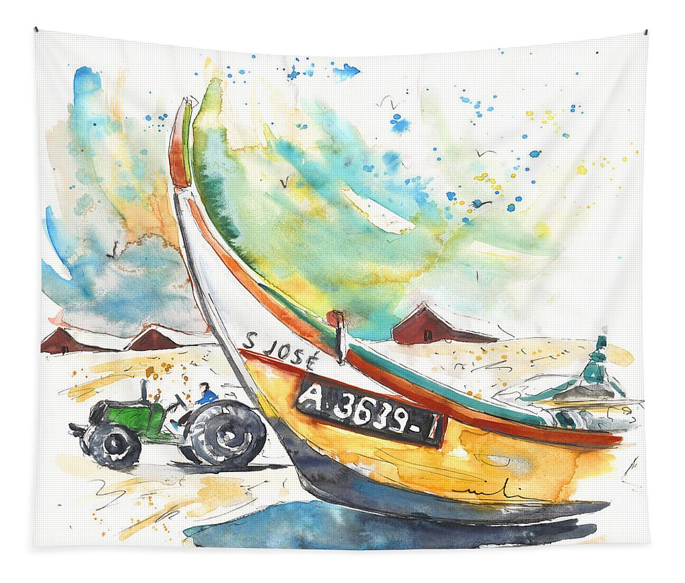 Portugal Tapestry featuring the painting Fisherboat In Praia De Mira by Miki De Goodaboom