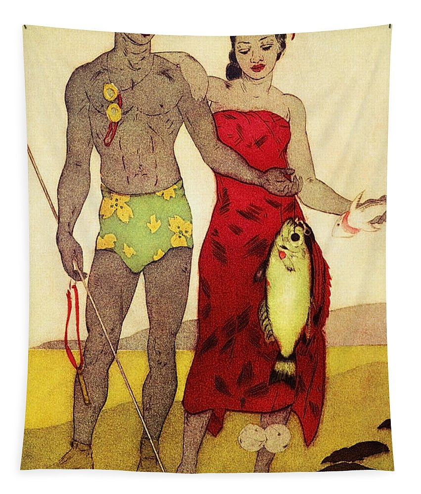 70-pfs0039 Tapestry featuring the painting Fisherman by Hawaiian Legacy Archives - Printscapes