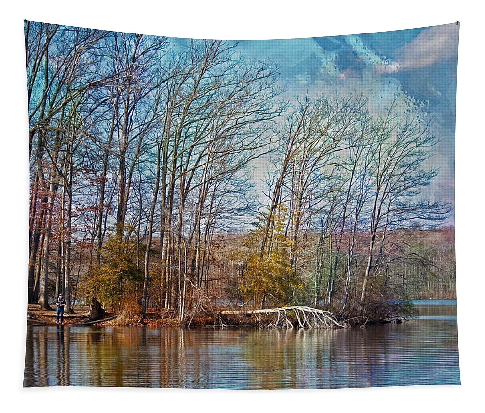 Burke Lake Park Tapestry featuring the photograph Fisherman On Burke Lake by Suzanne Stout
