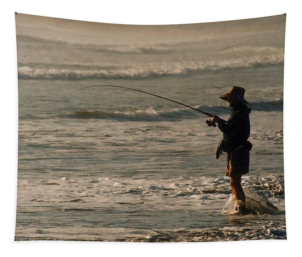 Fisherman Tapestry featuring the photograph Fisherman by Steve Karol