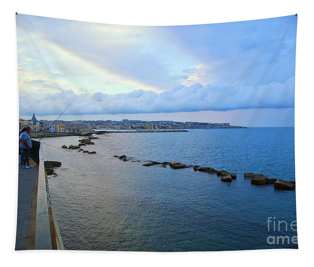 Fishing Tapestry featuring the photograph Fisherman's Delight In Sicily by Madeline Ellis