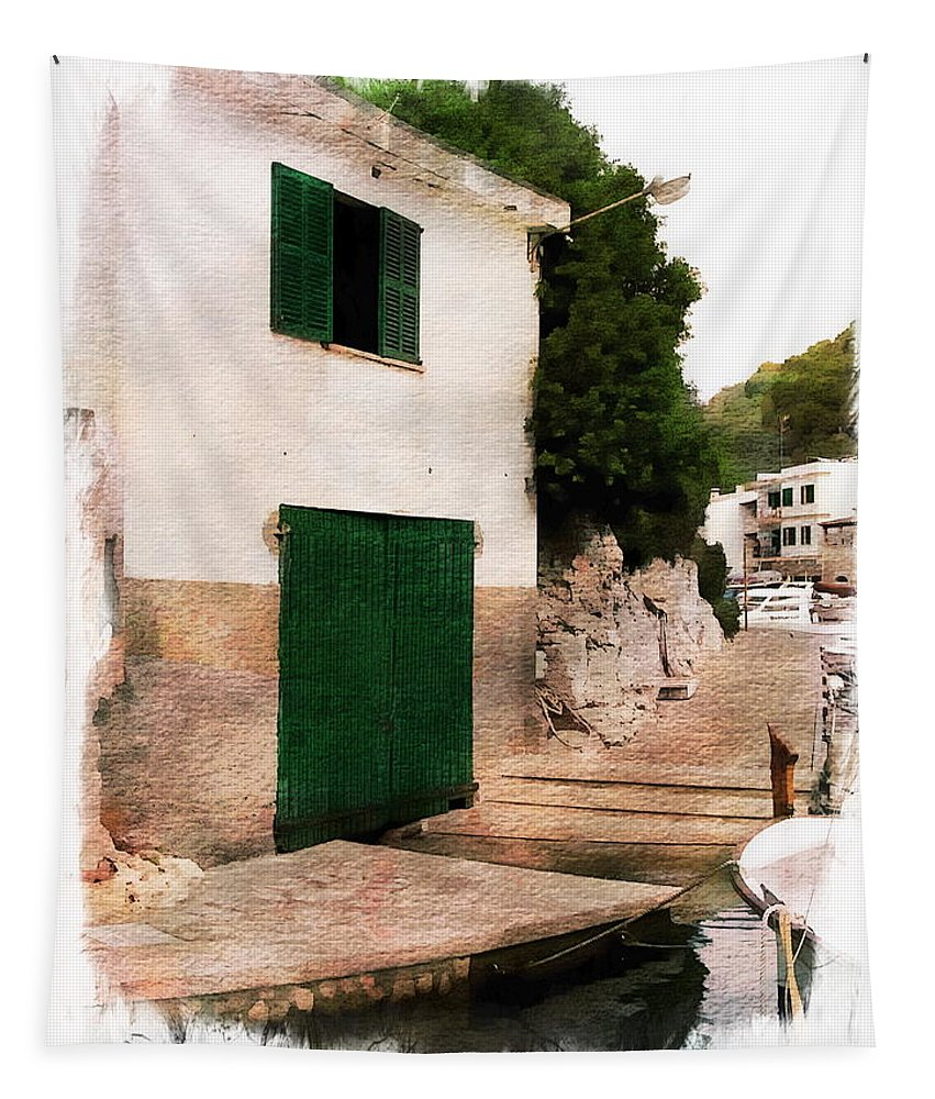 Building Tapestry featuring the photograph Fisherman's House by Anthony Dezenzio
