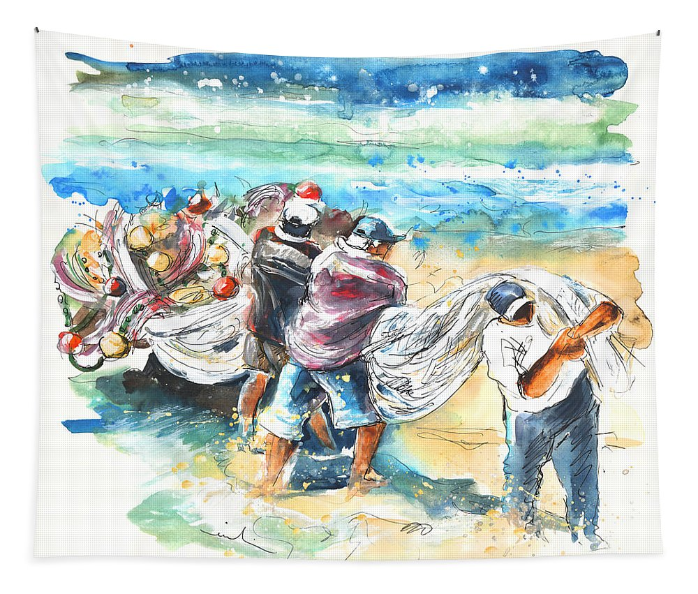 Portugal Tapestry featuring the painting Fishermen In Praia De Mira by Miki De Goodaboom