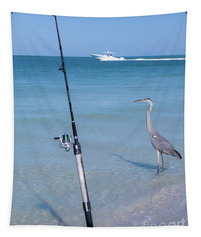Heron Tapestry featuring the photograph Fishermen by Zina Stromberg