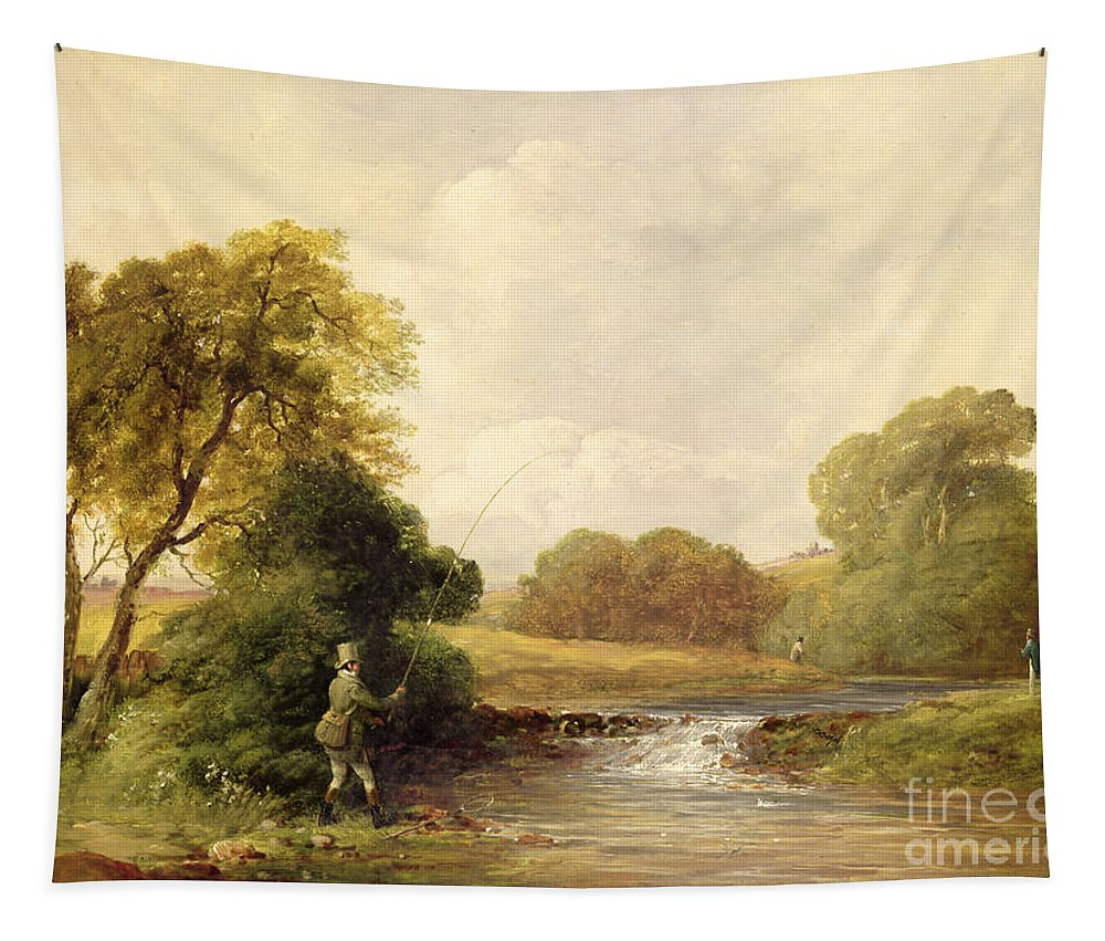 Fishing Tapestry featuring the painting Fishing - Playing A Fish by William E Jones