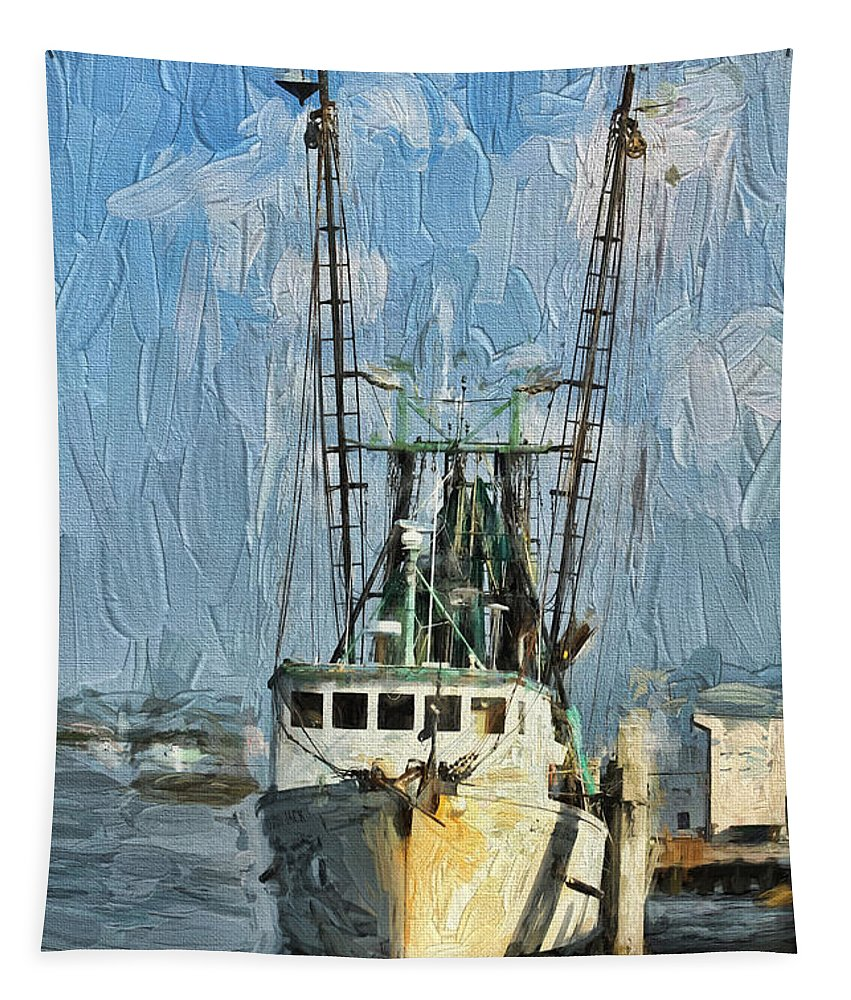 Boat Tapestry featuring the painting Fishing Anyone by Deborah Benoit