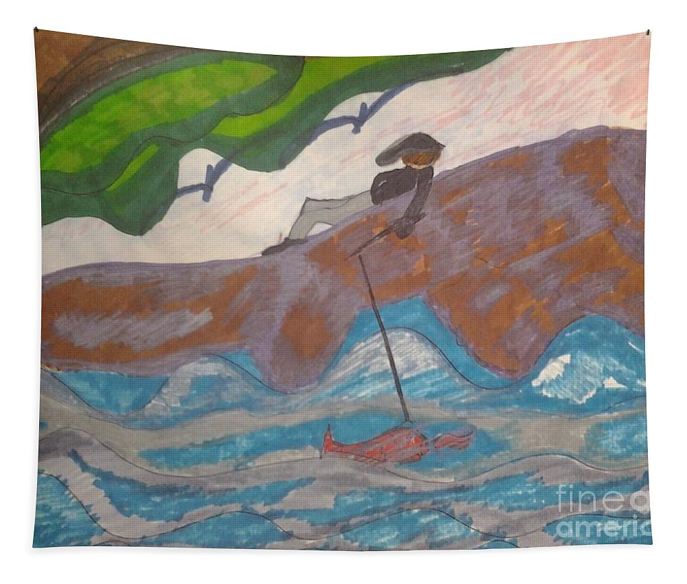 Boy Fishing On Rocks Water Gold Fish Tapestry featuring the mixed media Fishing At The Cove by Elinor Helen Rakowski