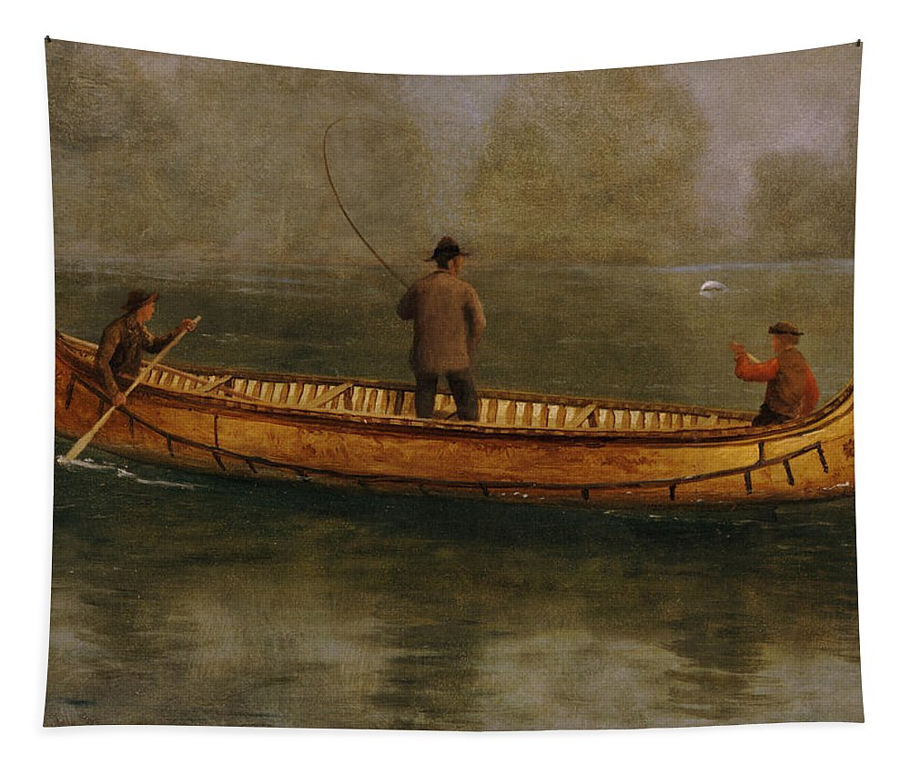 Fishing From A Canoe (oil On Canvas) American; Landscape; Lake; Kayak; Male; Leisure; Pastime; Paddle; Water Tapestry featuring the painting Fishing From A Canoe by Albert Bierstadt