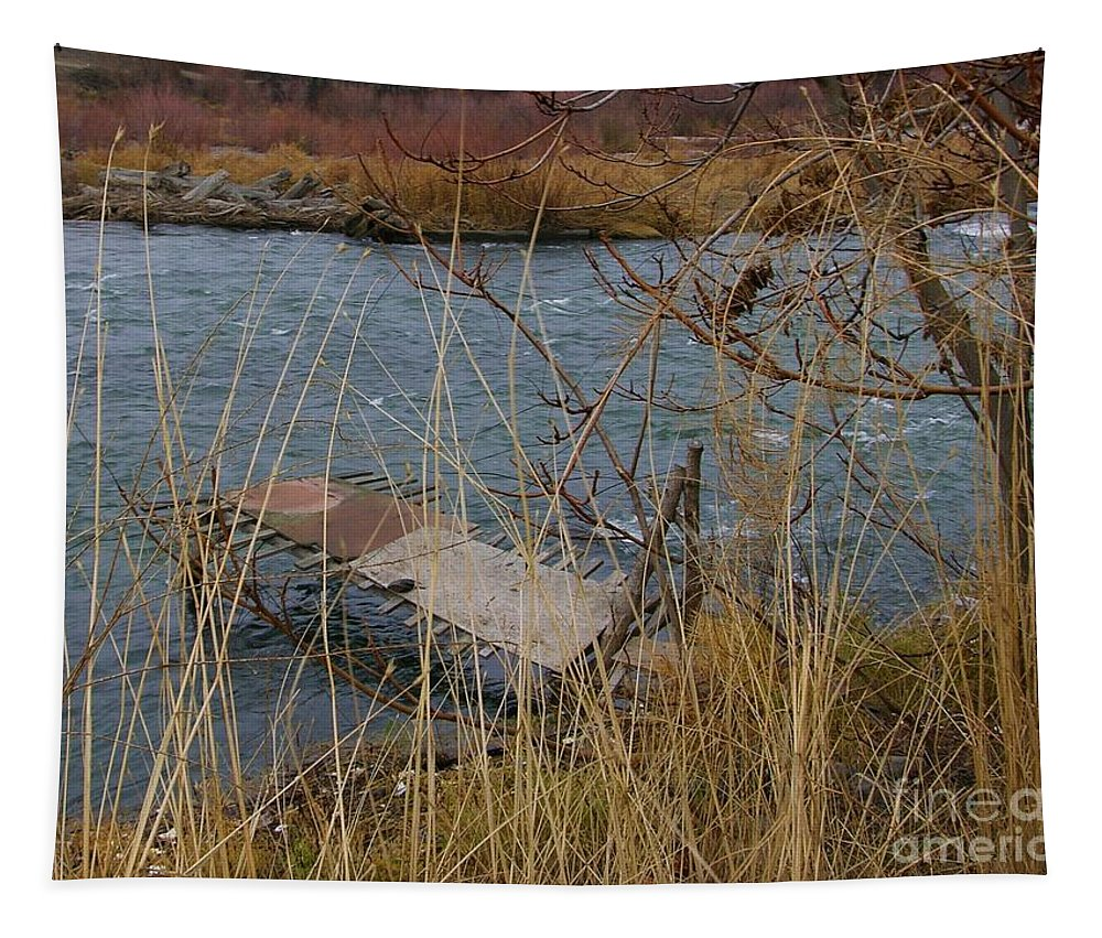 Native American Tapestry featuring the photograph Fishing Platform by Carol Groenen
