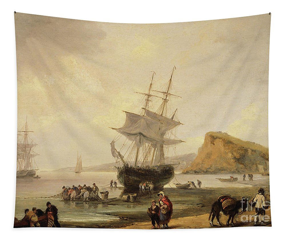 Tide Tapestry featuring the painting Fishing Scene, Teignmouth Beach And The Ness, 1831 by Thomas Luny
