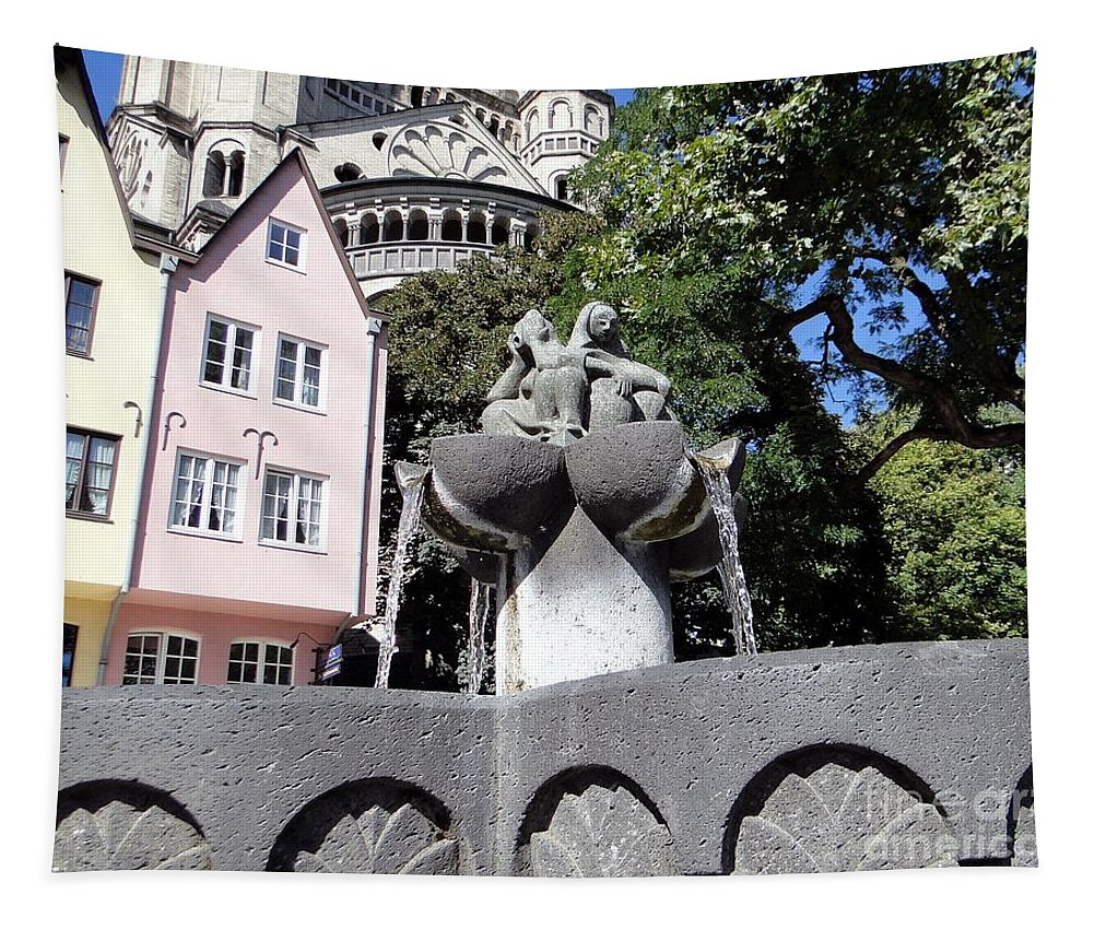 Fishmongers' Fountain Tapestry featuring the photograph Fishmongers Fountain In Koln, Germany by Barbie Corbett-Newmin