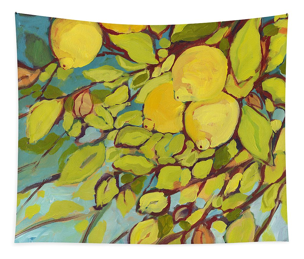 Lemon Tapestry featuring the painting Five Lemons by Jennifer Lommers