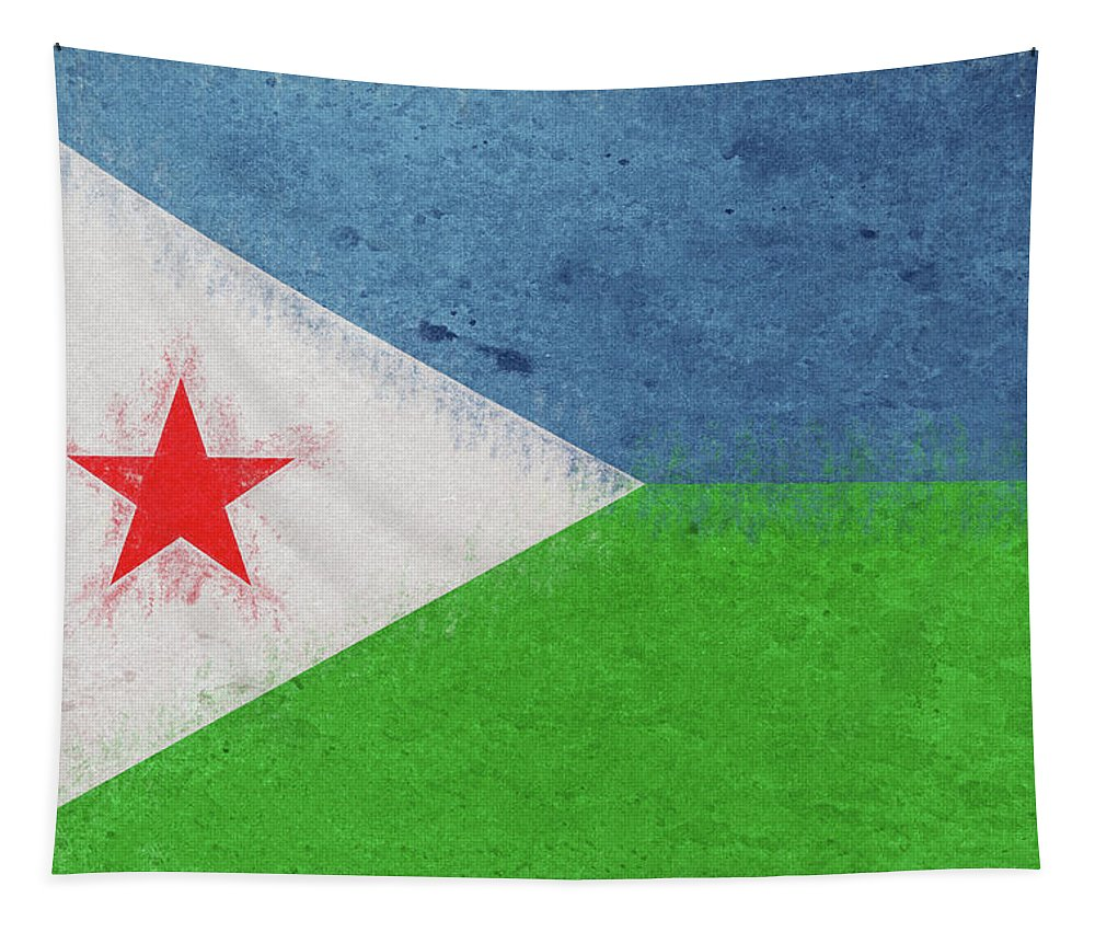 Africa Tapestry featuring the digital art Flag Of Djibouti Grunge by Roy Pedersen