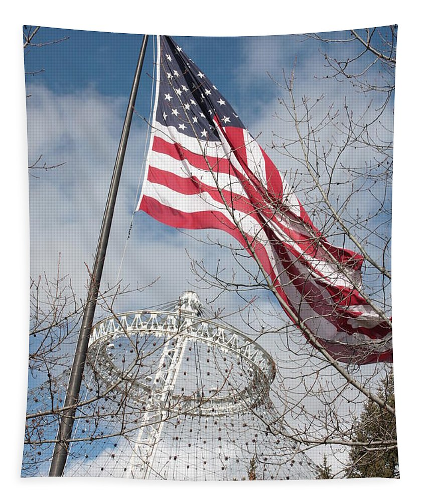 American Flag Tapestry featuring the photograph Flag Over Spokane Pavilion by Carol Groenen