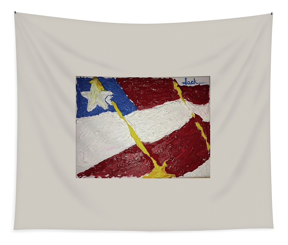Flag Tapestry featuring the painting Flag Section by Jack Bunds