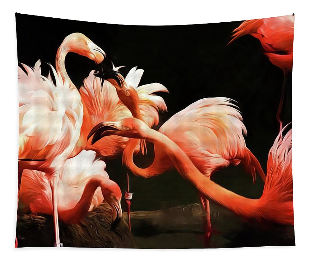 Alicegipsonphotographs Tapestry featuring the photograph Flamingo Kisses by Alice Gipson