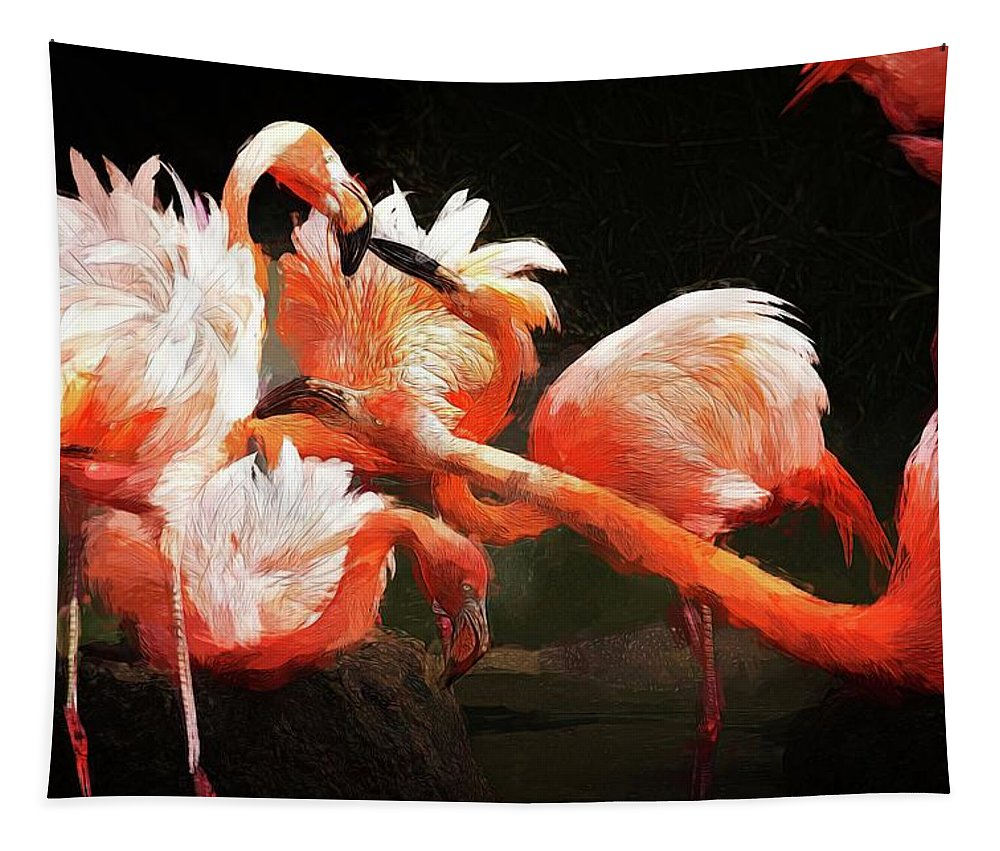 Alicegipsonphotographs Tapestry featuring the photograph Flamingo Mingles by Alice Gipson