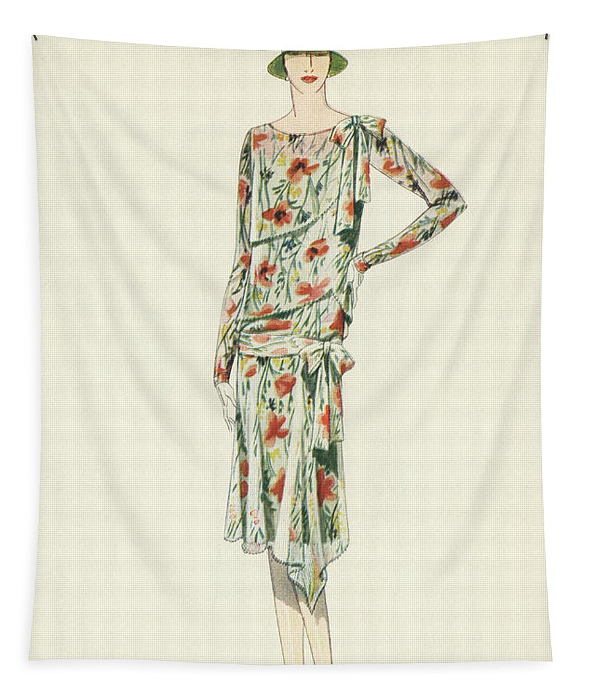 Flapper Tapestry featuring the painting Flapper In An Afternoon Dress by American School