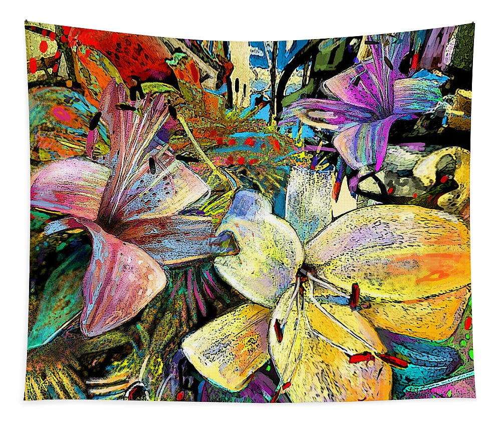 Fleurs De Lys Painting Tapestry featuring the painting Fleurs De Lys 02 by Miki De Goodaboom