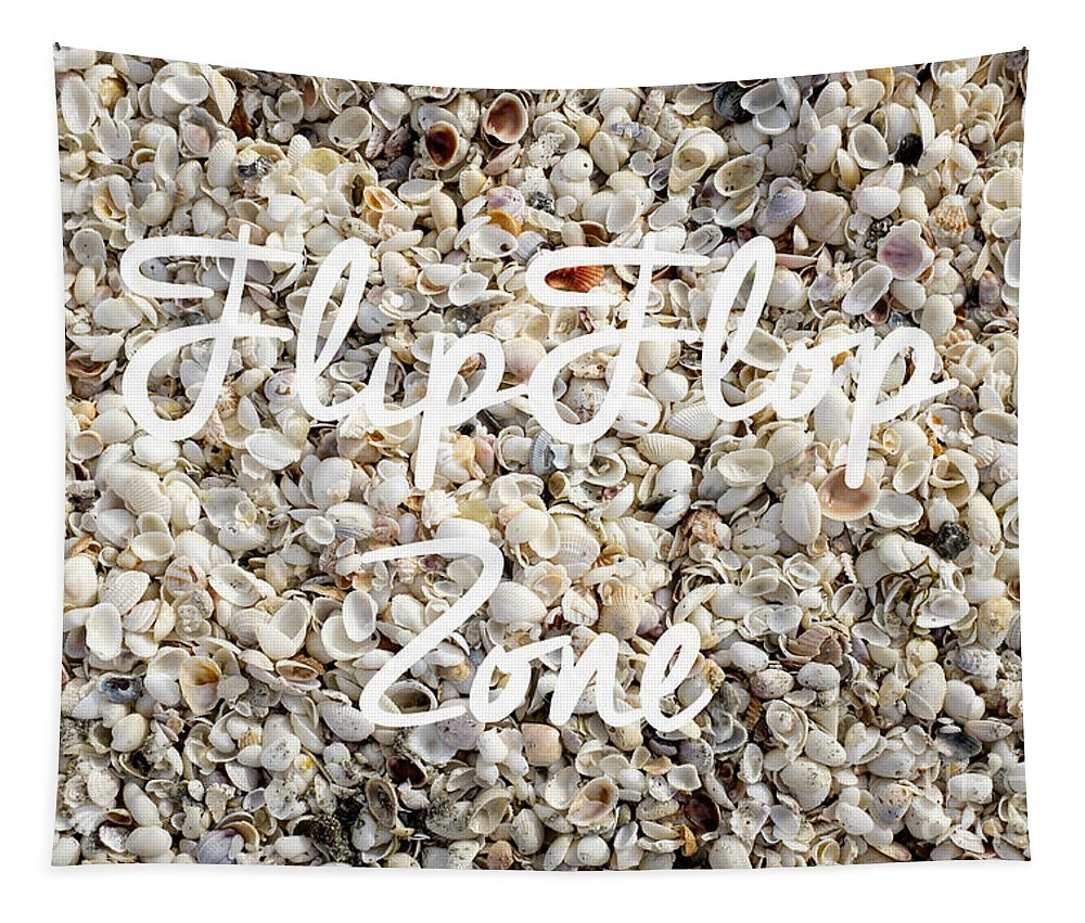Florida Tapestry featuring the photograph Flip Flop Zone Seashell Background by Edward Fielding