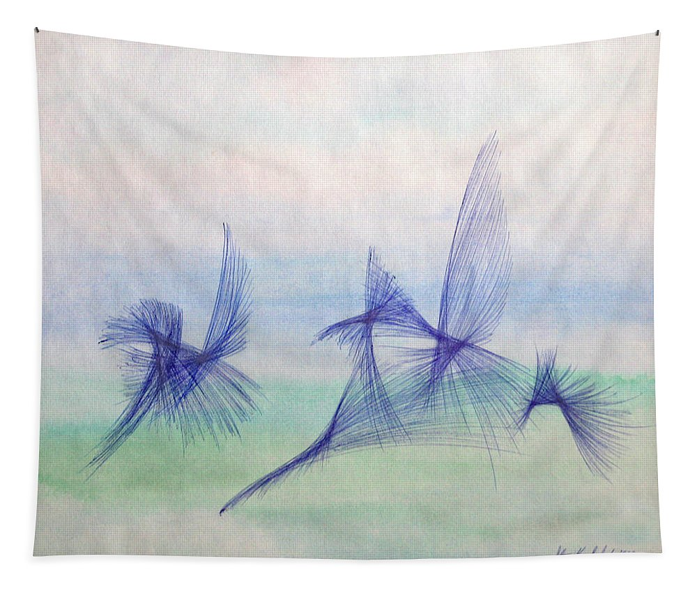 Abstract Tapestry featuring the mixed media Float by Steve Karol