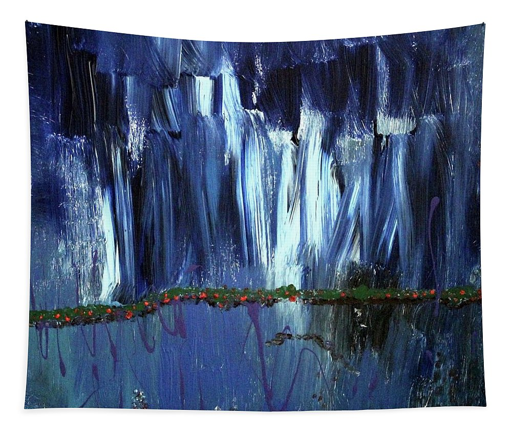 Blue Tapestry featuring the painting Floating Gardens by Pam Roth O'Mara