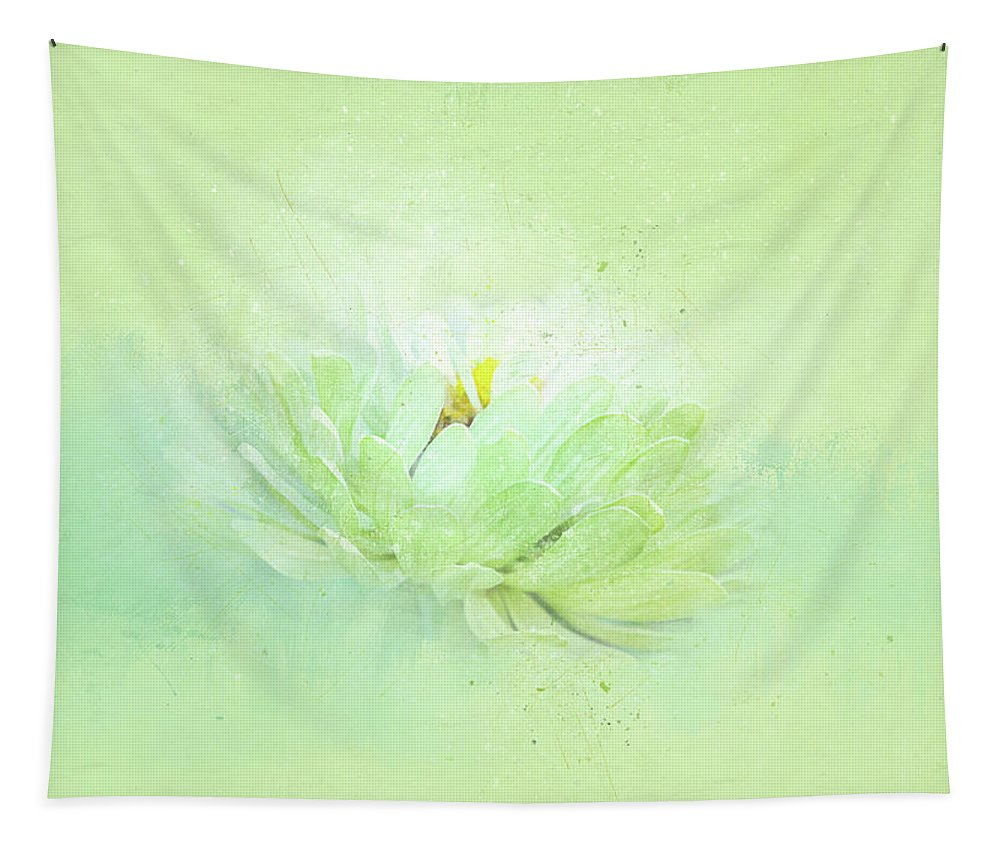 Flower Tapestry featuring the mixed media Floating In Green by Terry Davis
