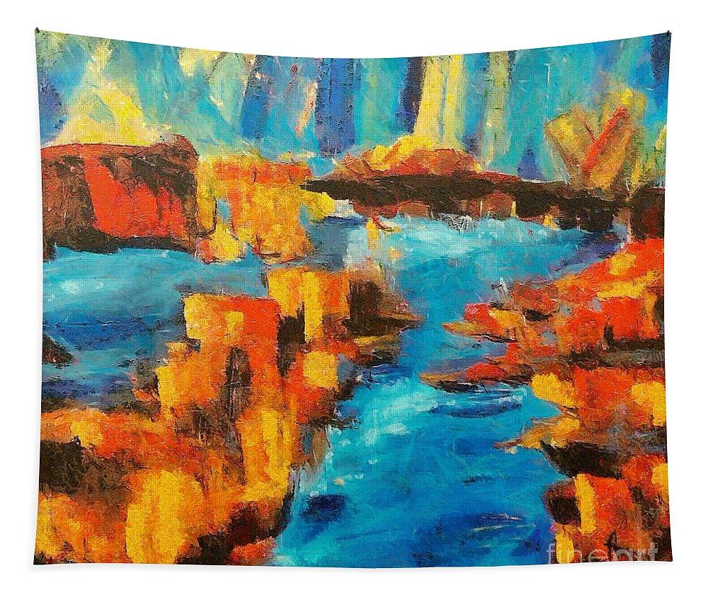 Flood Tapestry featuring the painting Flood by Dragica Micki Fortuna