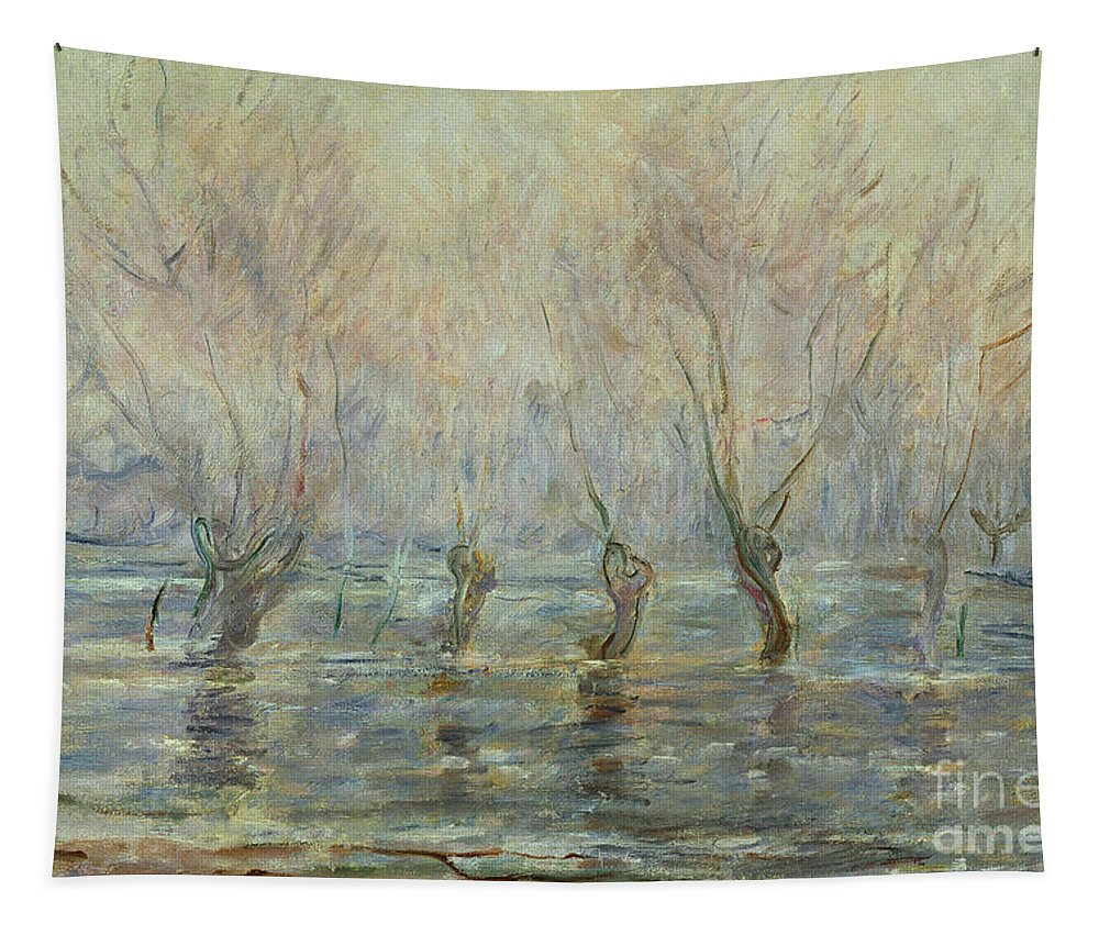 Claude Monet Tapestry featuring the painting Flood In Giverny by Claude Monet