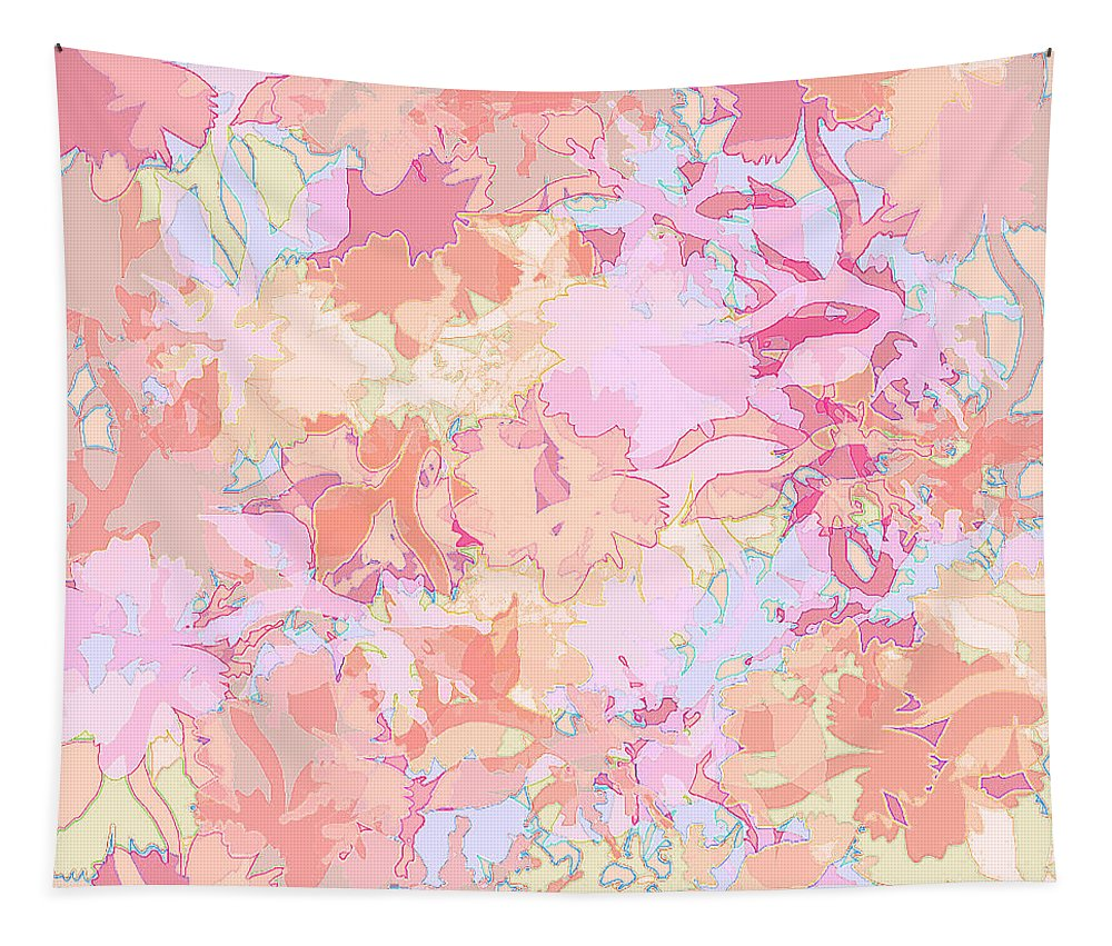 Abstract Tapestry featuring the digital art Floral Menagerie by Rachel Christine Nowicki