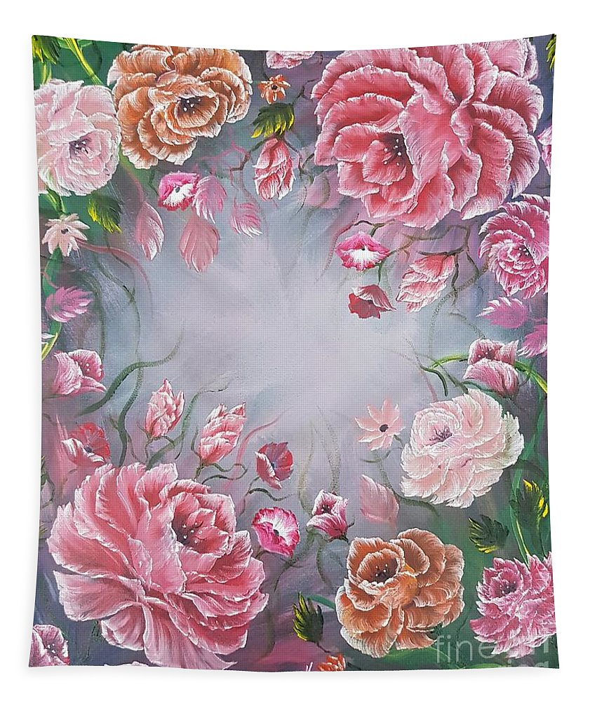 Beautiful Tapestry featuring the painting Floral Enchanting Roses by Angela Whitehouse
