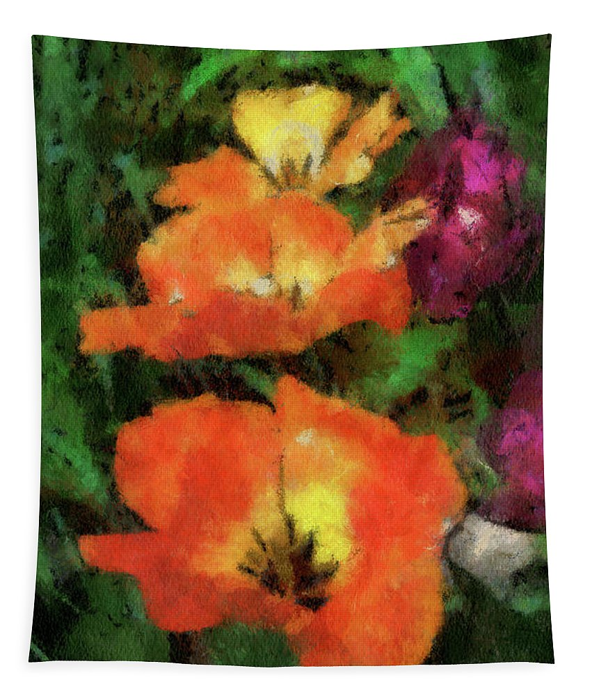 Tulip Tapestry featuring the mixed media Floral Spring Tulips 2017 Pa 02 Vertical by Thomas Woolworth