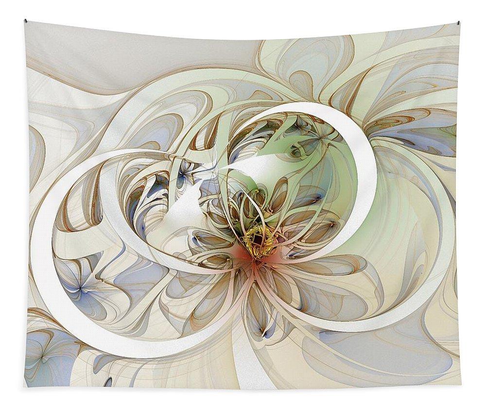 Digital Art Tapestry featuring the digital art Floral Swirls by Amanda Moore