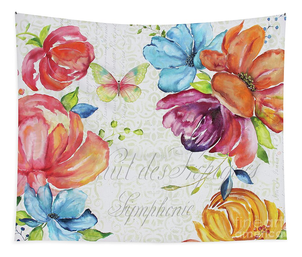 Floral Tapestry featuring the painting Floral Symphonie by Jean Plout