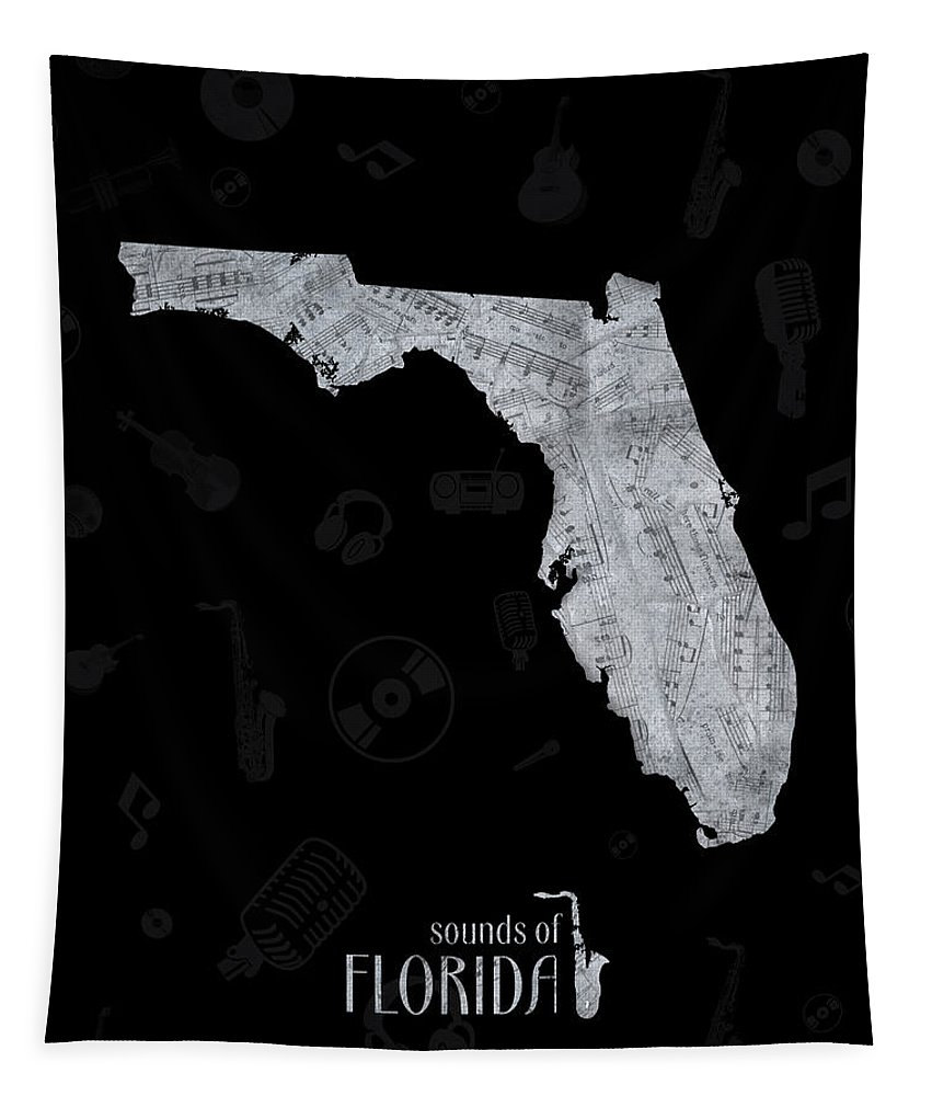 Florida Tapestry featuring the digital art Florida Map Music Notes 2 by Bekim Art